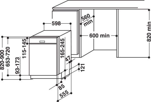Topsellers.be Indesit DBC 3C24 AC X Luxe inbouw vaatwasserA++ afmetingen