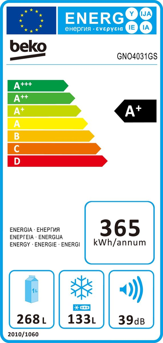Beko GNO4031GS - 4 DEURS Koel- Vriescombinatie - Neo Frost -RVS energie label topsellers.be